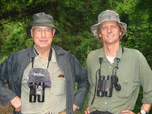 Richard and Tom Gullick, the top birder in the world. Tom Gullick has seen more birds than anybody else – nearly 9,000 species in all. He was one of the first clients of Vietnam Birding (Photo: Richard Craik)