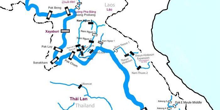 Bản đồ đập Thủy điện Trên Sông Mê Kông