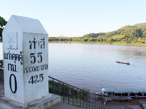 Sông Mê Kông nơi cột mốc biên giới giữa Thái Lan và Lào (Ảnh: Đình Tuyển/Thanh Niên)