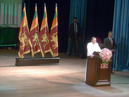 Tổng thống nước Cộng hòa dân chủ Sri Lank Maithripala Sirisena phát biểu khai mạc Diễn đàn
